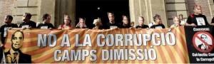 """Pancarta """"No a la corrupció, Camps dimissió"""""""